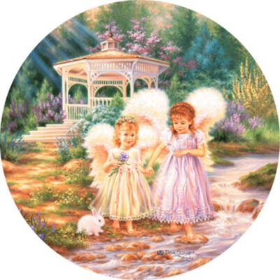 Sister Angels - 500pc Round Jigsaw Puzzle by Masterpieces