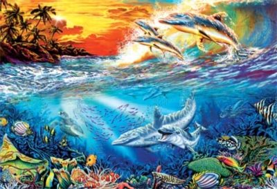 Dolphin Secrets - 500pc Glow in the Dark Jigsaw Puzzle by Masterpieces