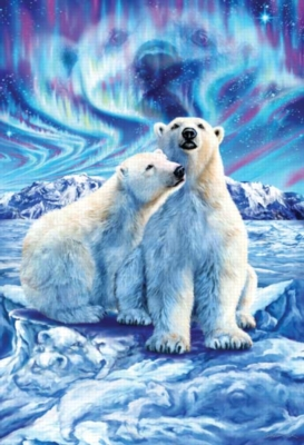 Polar Bear Lights - 500pc Glow in the Dark Jigsaw Puzzle by Masterpieces