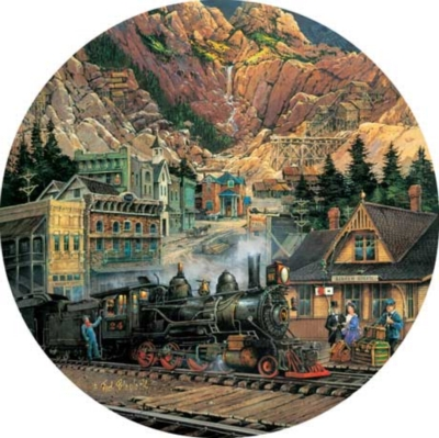 Silver Gultch Departure - 500pc Round Jigsaw Puzzle by Masterpieces
