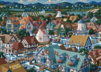 Town Square - 1000pc Suitcase Jigsaw Puzzle by Masterpieces