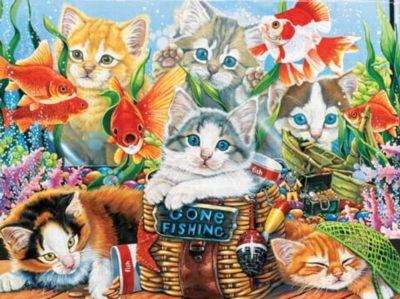 Fishing Kittens - 750pc Jigsaw Puzzle by Masterpieces