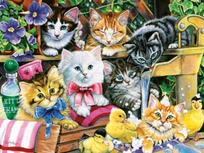 Bathtime Kittens - 750pc Jigsaw Puzzle by Masterpieces