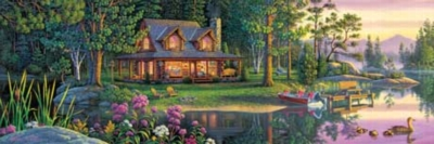 Lakeside Retreat - 1000pc Panoramic Jigsaw Puzzle by Masterpieces