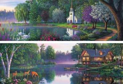 Heartland Series - 2 x 500pc Panoramic Jigsaw Puzzle by Masterpieces