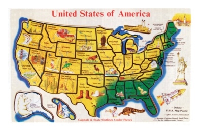 Large U.S.A. Map - 46pc Wooden Puzzle By Melissa & Doug
