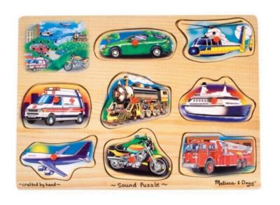 Vehicles - 9pc Wooden Sound Puzzle By Melissa & Doug