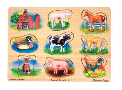Farm - 8pc Wooden Sound Puzzle By Melissa & Doug