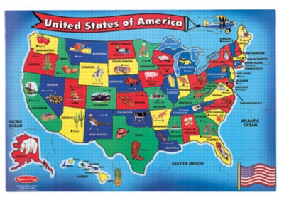 Melissa and Doug Floor Jigsaw Puzzles For Kids - U.S.A. Map