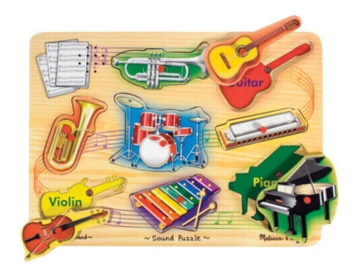 Musical Instruments - 8pc Wooden Sound Puzzle For Kids By Melissa & Doug
