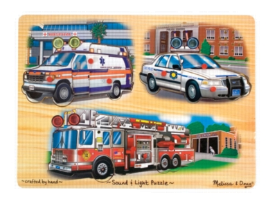 Emergency Vehicles Light & Sound - 9pc Wooden Sound Puzzle By Melissa & Doug