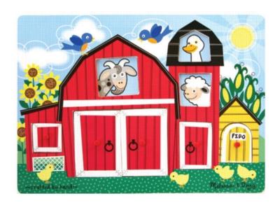 Farm Peek-A-Boo - 8pc Wooden Peg Puzzle By Melissa & Doug