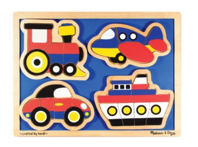 Things That Go - 16pc Wooden Shaped Puzzle By Melissa & Doug