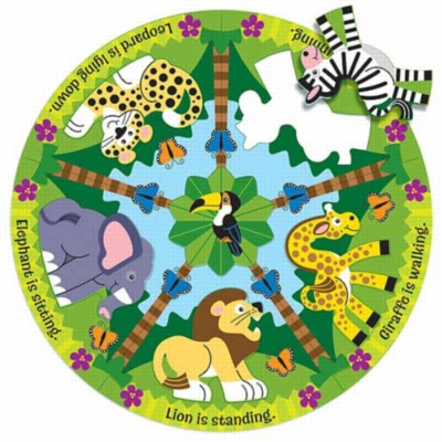 Zoo Friends - 12pc Round Floor Puzzle By Melissa and Doug