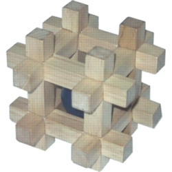 Interlocking Wooden Puzzle - Invader