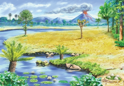 Dinosaur Landscape - 60pc Static Cling Jigsaw Puzzle by Ravensburger