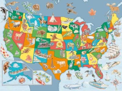 USA Map - 100pc Ravensburger Educational Jigsaw Puzzle by Ravensburger