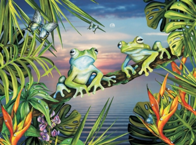 Blue Frogs at Sunset - 100pc Jigsaw Puzzle by Ravensburger