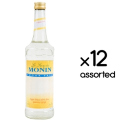 Monin Sugar Free Flavored Syrups - 750 ml. Glass Bottle Assorted Case