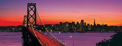 Oakland Bay Bridge at Dusk - 1000pc Panoramic Jigsaw Puzzle by Ravensburger
