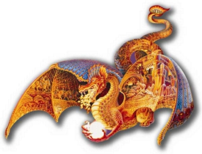 Fire Dragon - 1000pc Shaped Jigsaw Puzzle by FX Schmid