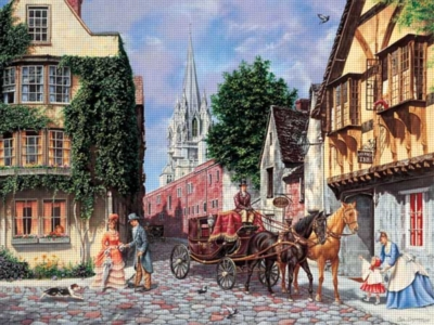 A Day for a Brougham Ride - 300pc Large Format Jigsaw Puzzle by FX Schmid