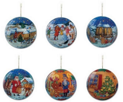 Collection of Six 60pc Christmas 3D Jigsaw Puzzleballs by Ravensburger