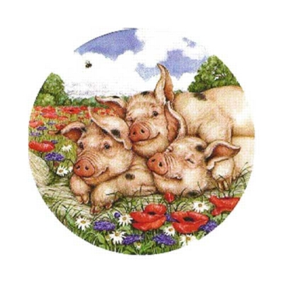 Pig Pile - 300pc Round Jigsaw Puzzle by Serendipity