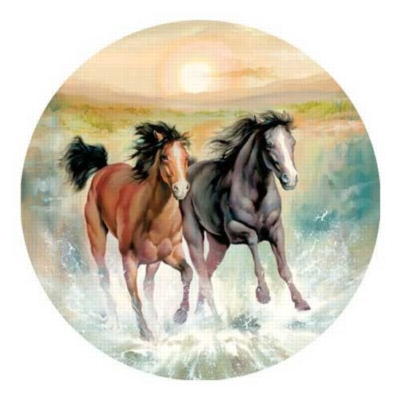 Horsing Around - 500pc Round Jigsaw Puzzle by Serendipity