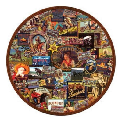 Western Round-Up - 500pc Round Jigsaw Puzzle by Serendipity