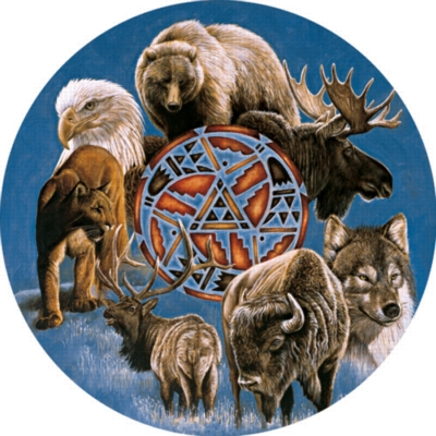 The Spirit Of The Animals - 500pc Round Jigsaw Puzzle by Serendipity