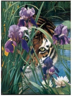 Iris Tiger - 1000pc Jigsaw Puzzle by Serendipity
