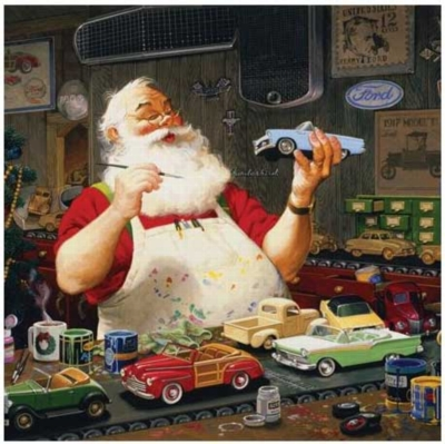 Santa's Toy Fords - 1000pc Jigsaw Puzzle by Serendipity