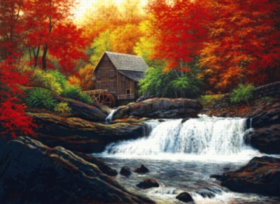 Glade Creek Grist Mill - 1500pc Jigsaw Puzzle by Serendipity