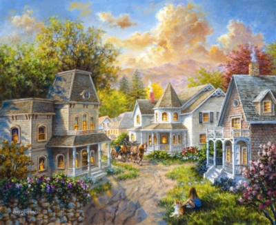 Main Street Along A Country Village - 1500pc Jigsaw Puzzle by Sunsout