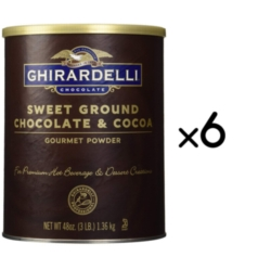 Ghirardelli Sweet Ground Chocolate and Cocoa Powder - 3 lb. Can Case