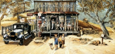 The Country Store Patron - 1000pc Panoramic Jigsaw Puzzle by Sunsout