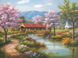Spring Puzzles - Covered Bridge in Spring