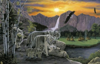 Path of the Wolf Spirit - 1000pc Jigsaw Puzzle by Sunsout