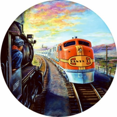 Santa Fe Super Chief - 1000pc Sunsout Round Jigsaw Puzzle