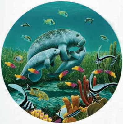 Manatee Moments - 1000pc Round Jigsaw Puzzle by Sunsout