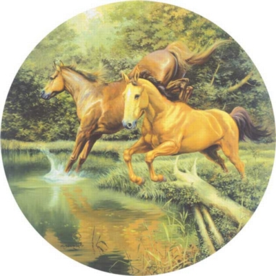 Jumping In The Pond - 1000pc Sunsout Round Jigsaw Puzzle