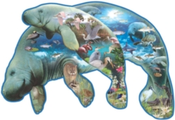 Shaped Jigsaw Puzzle - Manatees