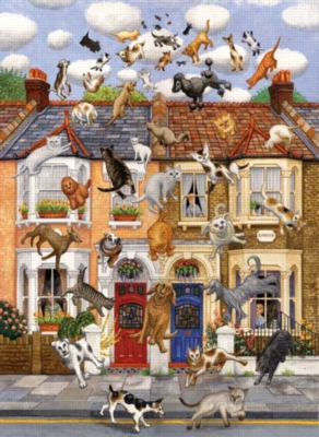 Raining Cats & Dogs - 1000pc TDC Jigsaw Puzzle and Roll-up