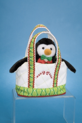 "White Tote with Holiday Penguin - 6"" Tote By Douglas Cuddle Toys"