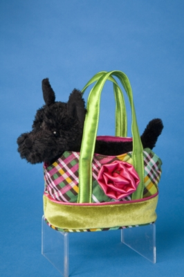 Green Pink Plaid Tote with Scottish Terrier - 6'' Tote By Douglas Cuddle Toys