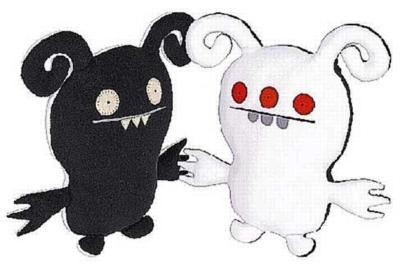 Turny Burny Black & White - 7'' Little Uglys by Uglydoll