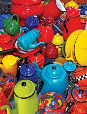Colorful Kettles - 350pc Large Format Jigsaw Puzzle by Springbok