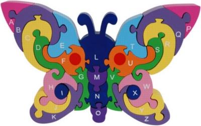Butterfly Alphabet - 26pc Eco-Friendly Wooden Jigsaw Puzzle by ImagiPLAY