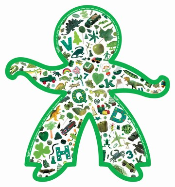 I Spy: Colorful Kids (GREEN) - 100pc Shaped Jigsaw Puzzle by Briarpatch